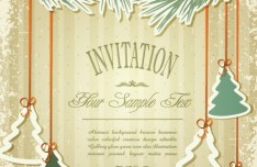 Vintage Merry Christmas Invitation Card Ornaments Vector 03