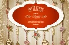 Vintage Merry Christmas Invitation Card Ornaments Vector 04