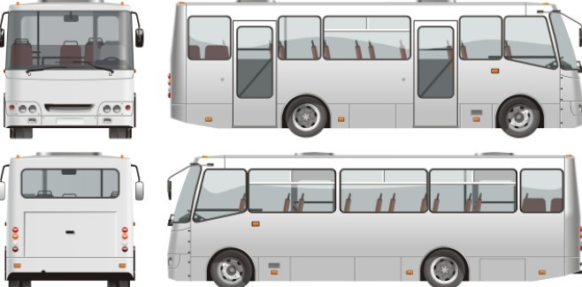 Set Of Vector Tour Bus Illustrations 02