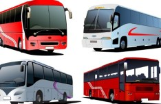 Set Of Vector Tour Bus Illustrations 04