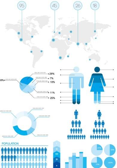 Blue Infographic Statistics Design Elements Vector