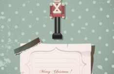 Cartoon Merry Christmas Sticker with Vintage Dots Background Vector 02
