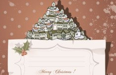 Cartoon Merry Christmas Sticker with Vintage Dots Background Vector 04