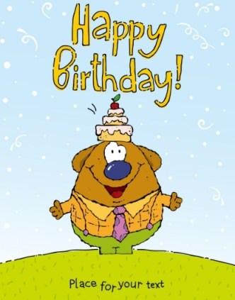 Cute Cartoon Animal Illustration For Happy Birthday Vector 01