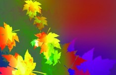 Neon Light Maple Leaves Background Vector 01
