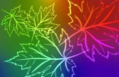 Neon Light Maple Leaves Background Vector 03