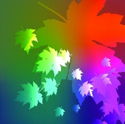 Neon Light Maple Leaves Background Vector 04
