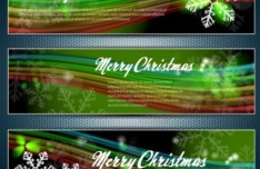 Set Of Vector Merry Christmas Cards with Bright Snowflake Backgrounds 01