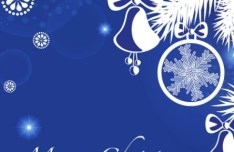 Blue Christmas Illustration For Merry Christmas Card Vector 05