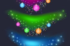 Blurred Merry Christmas Ornaments Vector