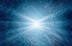 Bright Blue Circuit Board Background Vector