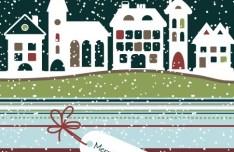 Cartoon Snowy Christmas Night Vector Illustration 01