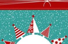 Cartoon Snowy Christmas Night Vector Illustration 02