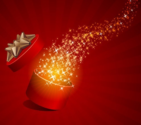 Red Opened Gift Box with Flying Stars Vector 01
