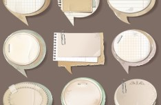 Set Of Retro Paper Speech Bubbles with Clips Vector