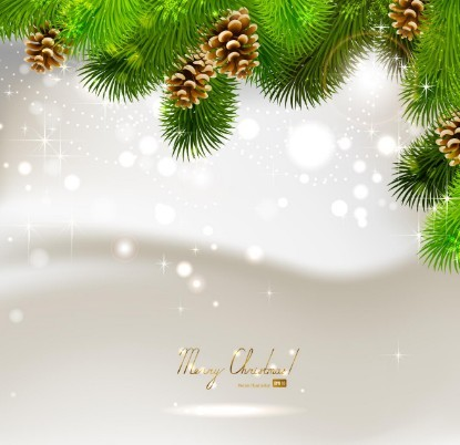 Vector Bright Background with Christmas Ball and Tree Ornaments 02