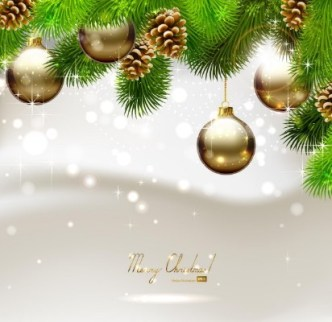 Vector Bright Background with Christmas Ball and Tree Ornaments 03