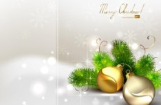 Vector Bright Background with Christmas Ball and Tree Ornaments 04