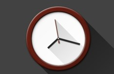 Flat Clock With Long Shadow PSD