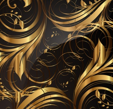 Gorgeous Golden Floral Pattern Vector 01
