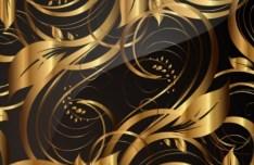 Gorgeous Golden Floral Pattern Vector 02