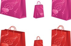 Red and Pink Love Heart Shopping Bags Vector