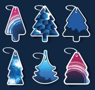 Set Of Creative Christmas Tree Hang Tags Vector 01