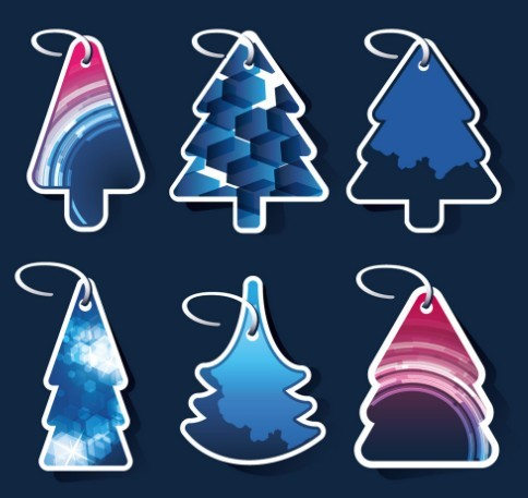 Set Of Creative Christmas Tree Hang Tags Vector 01