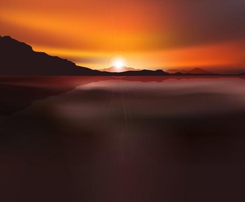Vector Sunrise Landscape Illustration 01