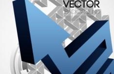 3D Abstract Arrow Background Vector 04