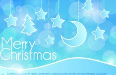 Blue Fantastic Merry Christmas Background Decoration Vector