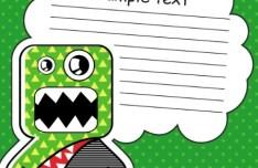 Cartoon Speech Bubble with Cute Monster Vector 04