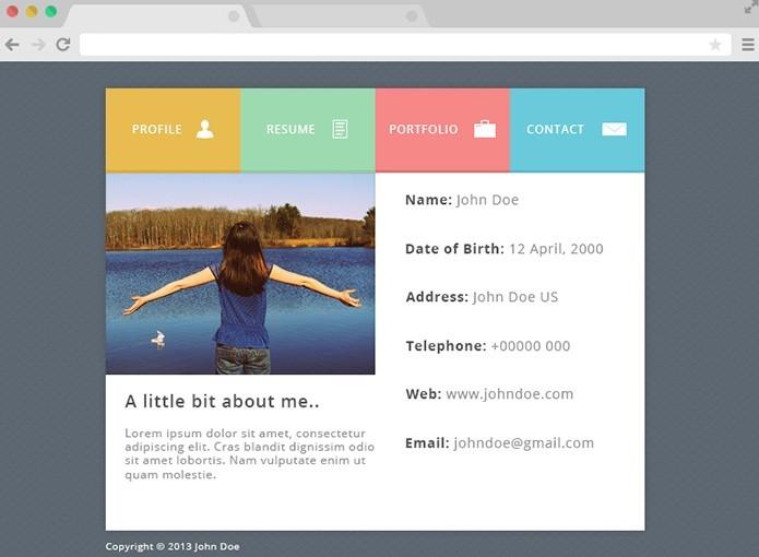 cv website template free download