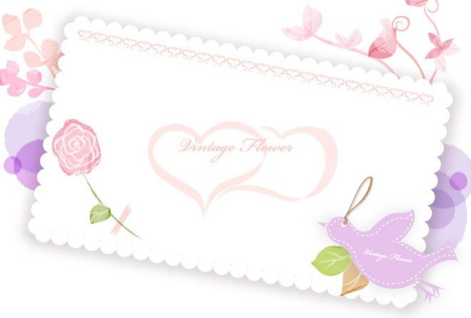 Clean Letter Paper With Vintage Flowers Vector