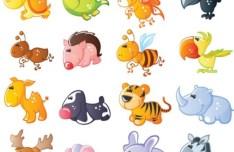 Set Of Cute Cartoon Animal Icons