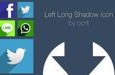 4 Icon Templates with Long Shadows PSD