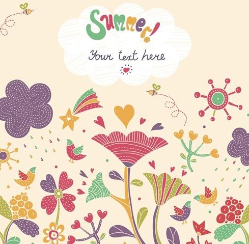 Cartoon Happy Summer Vacation Vector Illustration 02