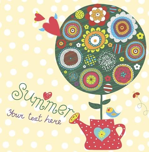 Cartoon Happy Summer Vacation Vector Illustration 03