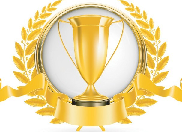 free golden emblem with ribbon and trophy cup vector 02