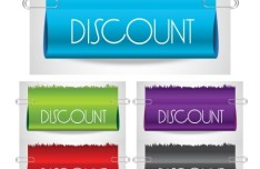 Set Of Rolled Up Discount Labels with Paperclips Vector