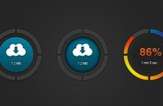 Cloud Download Buttons with Dark Circular Borders PSD