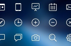 Stroke Line Web Icons Set PSD