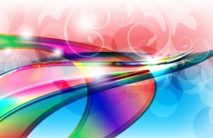 Colorful Abstract Waves with Floral and Halos Background Vector
