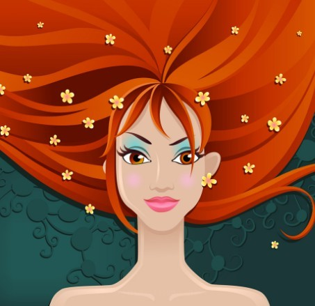 Vector Illustration Of Beautiful Girl With Red Long Hair