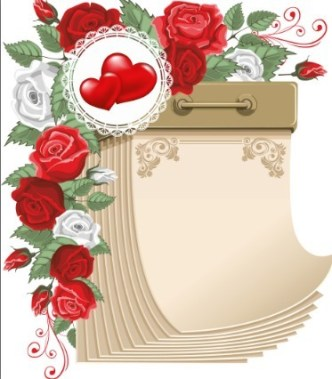 Blank Calendar with Love Flowers Ornaments Vector