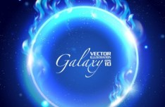 Blue Light Galaxy Vector Background 01