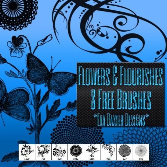 Flower & Flourish Floral Photoshop Brushes