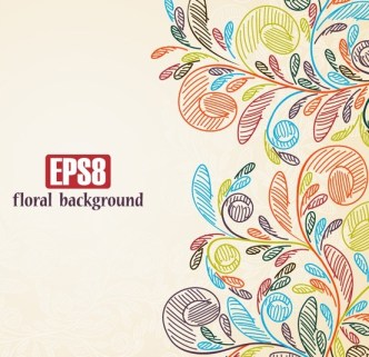 Hand Drawn Colorful Flourish Floral Vector