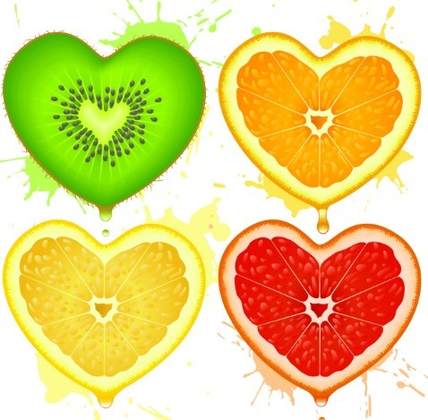 4 Vector Fruit Love Heart