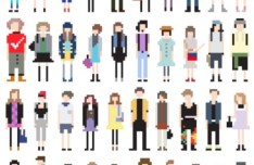 Vector Fashion Pixel People Collection 01